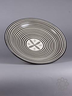keramikfat svart och vitt randigt