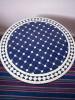 Mosaik Bordsskiva - Rund Blå/vit Klassisk 70cm