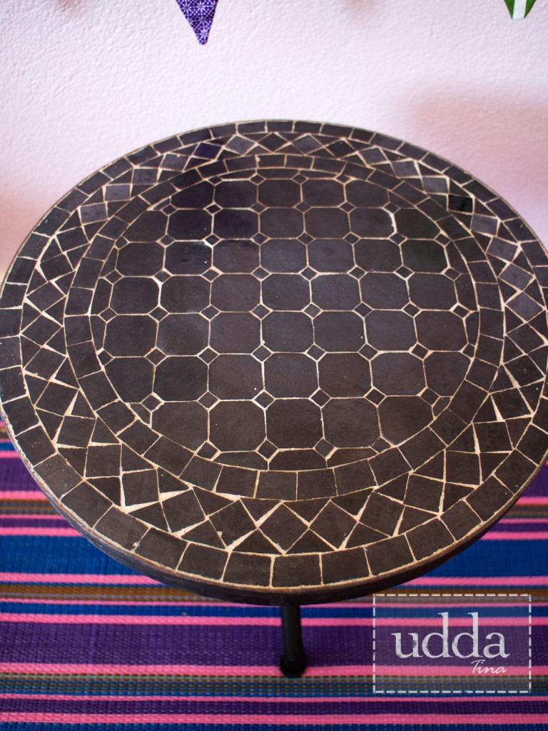 Mosaik Bordsskiva - Rund Svart 40cm