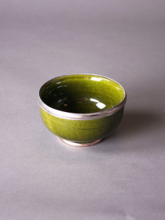 Skål Rif Design - Silverkant Grön 10cm