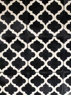 Marockanskt kakel - Kupol Svart/Vit Enkel Platta