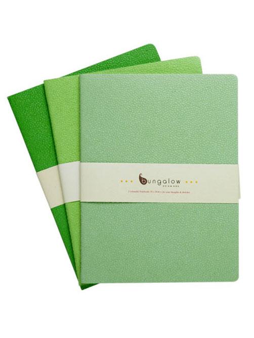Bungalow Anteckningsblock - Grön 3-pack