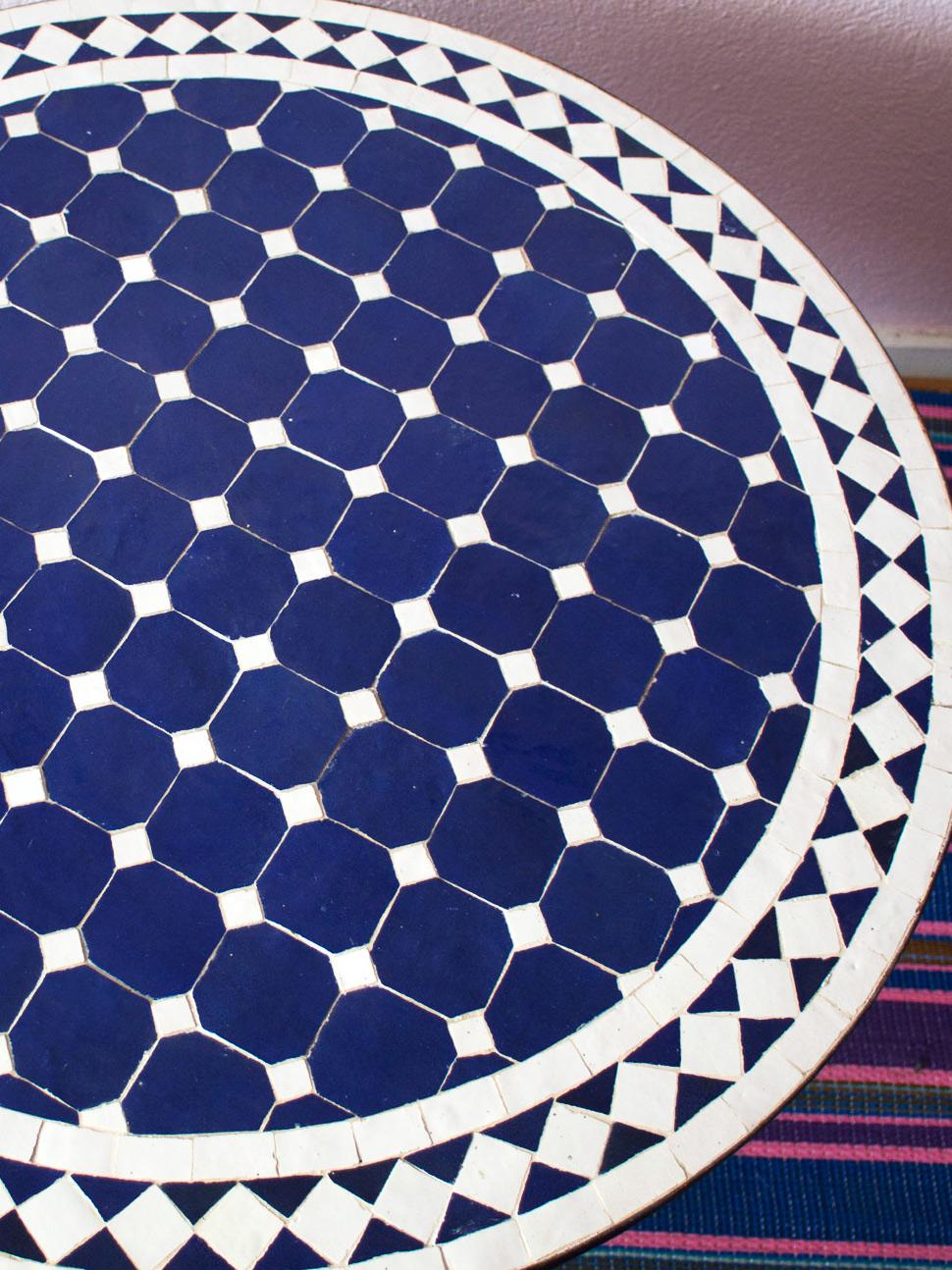 Mosaikbord - Blå/Vit
