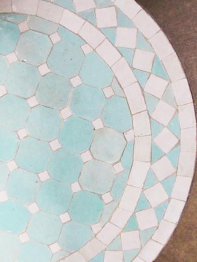 Mosaikbord - Ljus Turkos/Vit