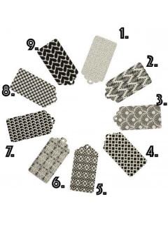 Bungalow - Mönstrade Etiketter Svarta 6-pack